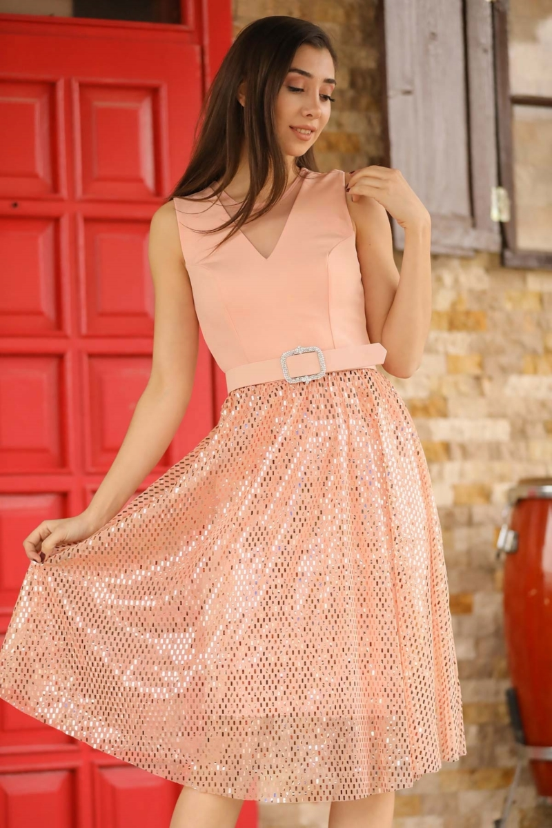 Women's Belted Sequin Hem Powder Rose Short Evening Dress