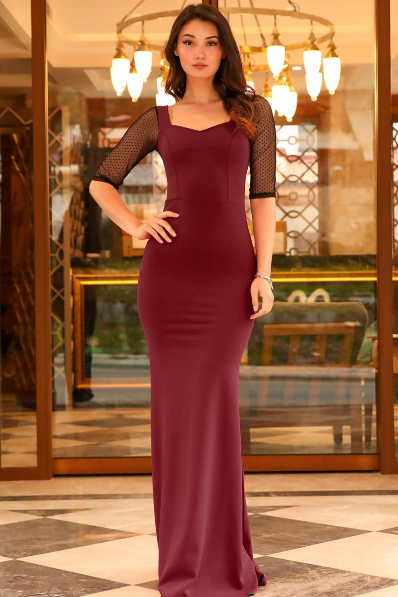 Women's Tulle Sleeves Fish Model Claret Red Long Evening Dress