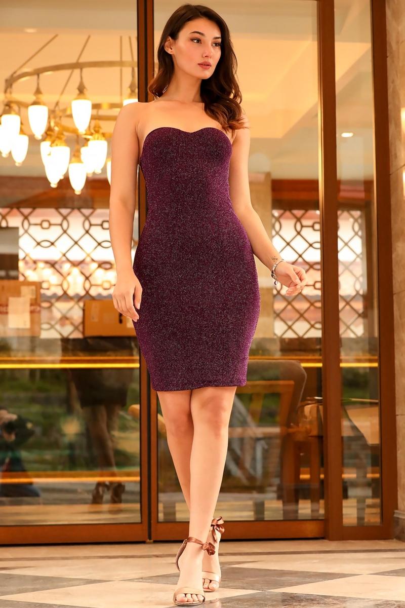 Women's Tulle Accessory Detail Shiny Purple Evening Dress