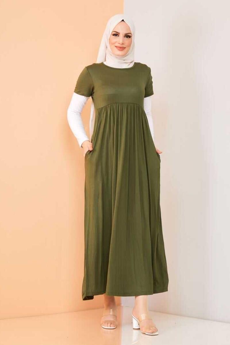 Women's Khaki Modest Long Dress