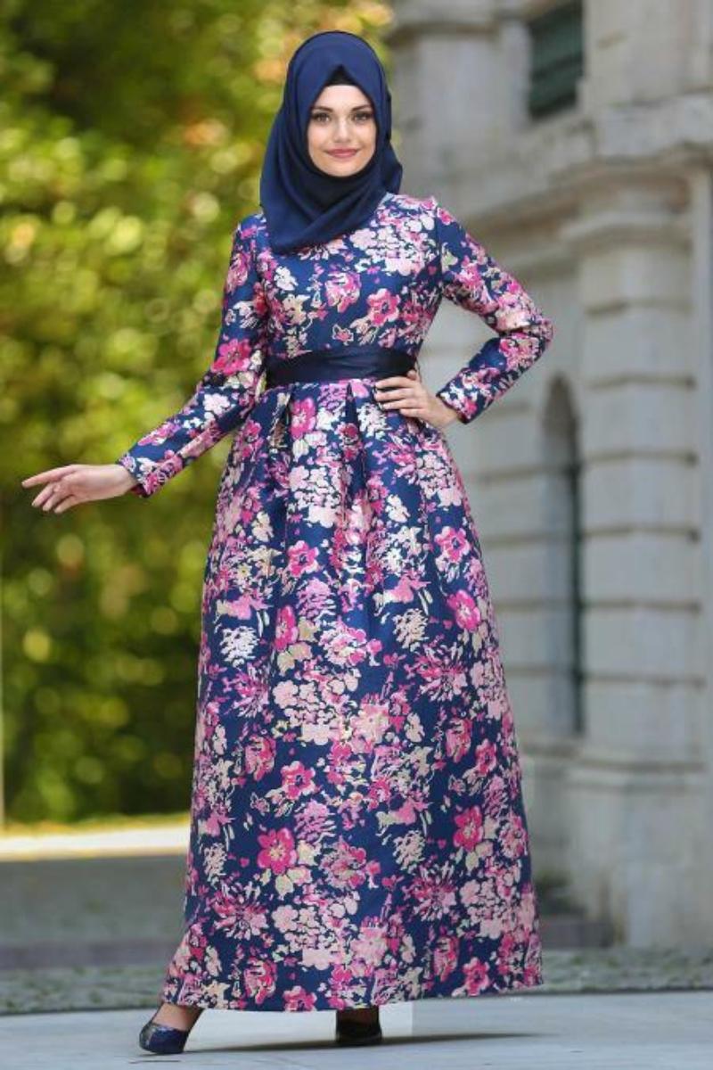 Women's Pleated Navy Blue Jacquard Evening Dress