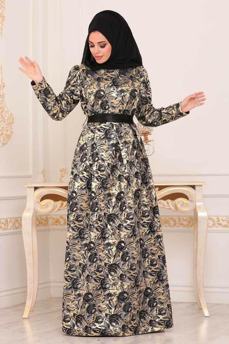 Women's Patterned Jacquard Evening Dress