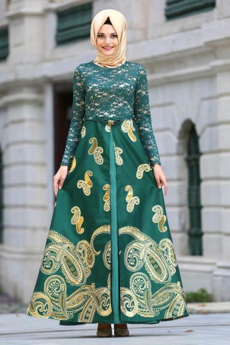 Women's Lace Top Green Jacquard Evening Dress