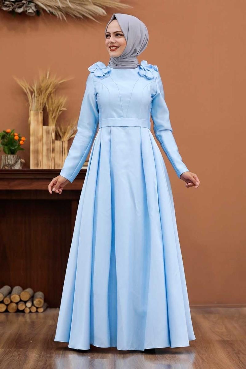 Women's Shirred Shoulders Baby Blue Taffeta Evening Dress